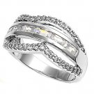 Silver Tension Set Pave Cubic Zirconia Wedding Band Ring Solid Sterling CLEAR