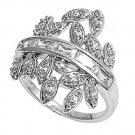 Silver Channel Set Pave Leaves Cubic Zirconia Fashion Ring Solid Sterling CLEAR
