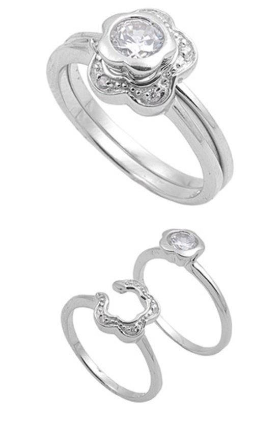 Silver 1CT Flower Design Brilliant Cut Cubic Zirconia Puzzle Ring Solid Sterling