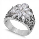 Antique Silver Marcasite Ring Sterling Silver Clear CZ