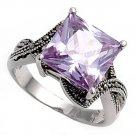 Antique 5CT Princess Cut Lavender Cubic Zirconia Marcasite Ring Sterling Silver