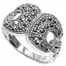 Antique Vintage Clip Design Cubic Zirconia Silver Marcasite Ring Sterling Silver