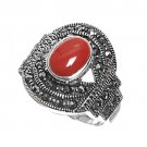 Antique Oval Cut Carnelian Cubic Zirconia Marcasite Ring Sterling Silver CARNELI