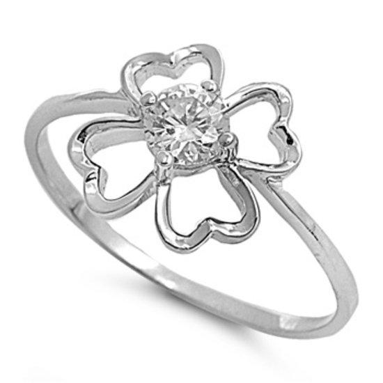 Silver 1CT Flower Design Brilliant Cut CZ Fashion Ring Solid Sterling CLEAR