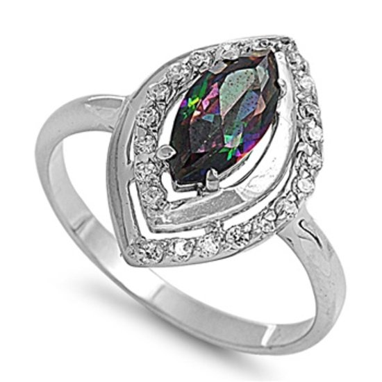 Silver 1CT Marquise Cut Rainbow Topaz CZ Solitaire Ring Solid Sterling RAINBOW T