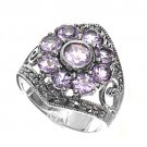 Antique Flower Design Brilliant Cut Lavender CZ Marcasite Ring Sterling Silver L