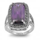 Antique Plus Size Cushion Cut Amethyst Cubic Zirconia Marcasite Ring Sterling Si
