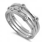 Silver Brilliant Stone Cubic Zirconia Trinity Stackable Band Ring Solid Sterling