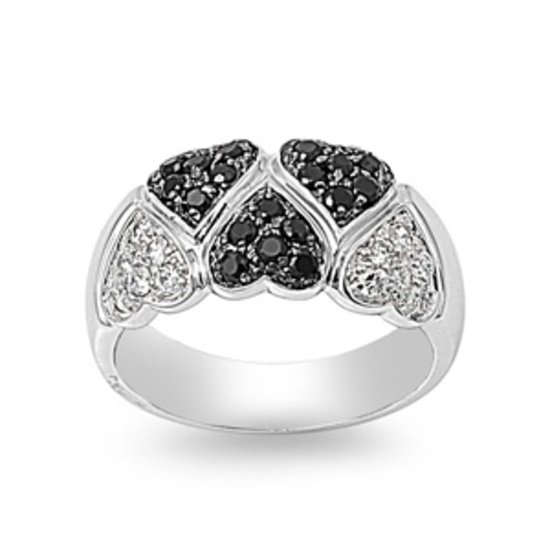 Silver Alternating Pave Black and White Hearts CZ Fashion Ring Solid Sterling BL