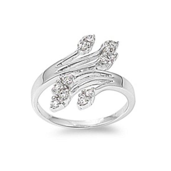 Silver Designer Inspired Art Deco Design Cubic Zirconia Fashion Ring Solid Sterl