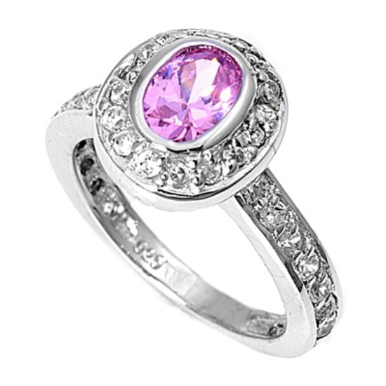 2CT Vintage Oval Cut Pink Cubic Zirconia Halo Ring Sterling Silver PINK