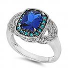 Blue Sapphire CZ Vintage Style Halo Ring Sterling Silver Cocktail Ring BLUE SAPP