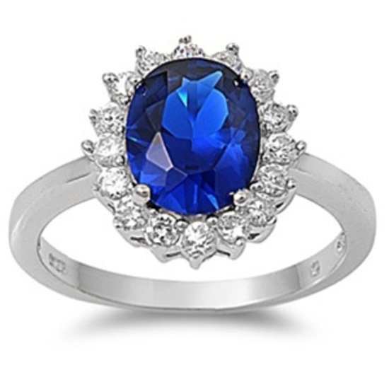 2CT Celebrity Inspired Blue Sapphire Halo CZ Engagement Ring Sterling Silver BLU