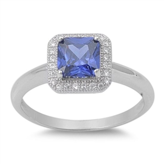 1 CT Princess Cut Tanzanite CZ HALO Solitaire 925 Sterling Silver Promise Ring S