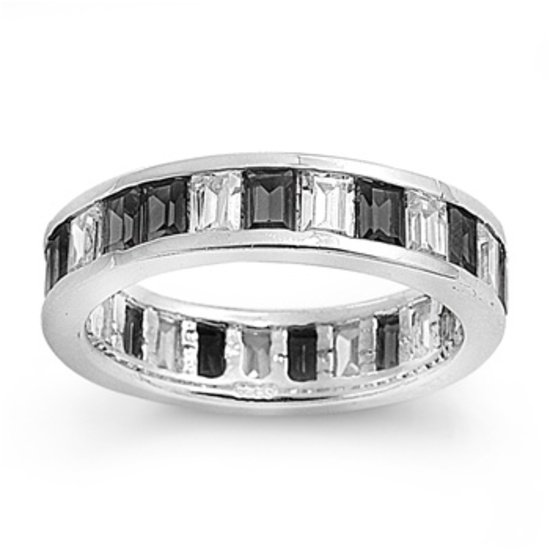 Channel Set Black White Baguettes CZ .925 Sterling Silver Wedding Band Ring 5mm