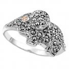 Antique Vintage Elephant Design Champagne CZ Marcasite Ring Sterling Silver CHAM