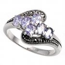 Antique Oval Cut Lavender Cubic Zirconia Marcasite Ring Sterling Silver LAVENDER