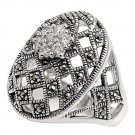 Antique Designer Inspired Netted Design CZ Marcasite Ring Sterling Silver CLEAR