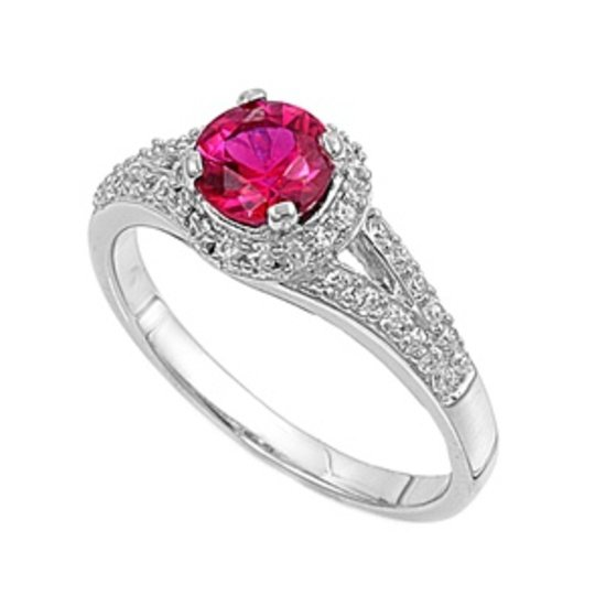 Silver 2CT Vintage Inspired Ruby CZ Halo Promise Ring Solid Sterling RUBY