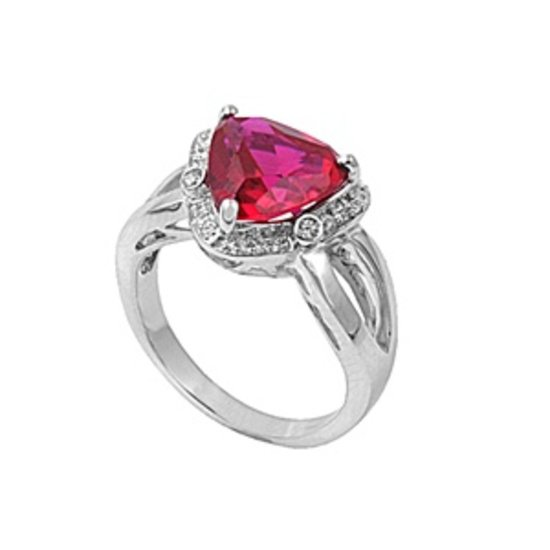 Silver 6.5CT Ruby Trillion Cut Cubic Zirconia Solitaire Ring Solid Sterling RUBY