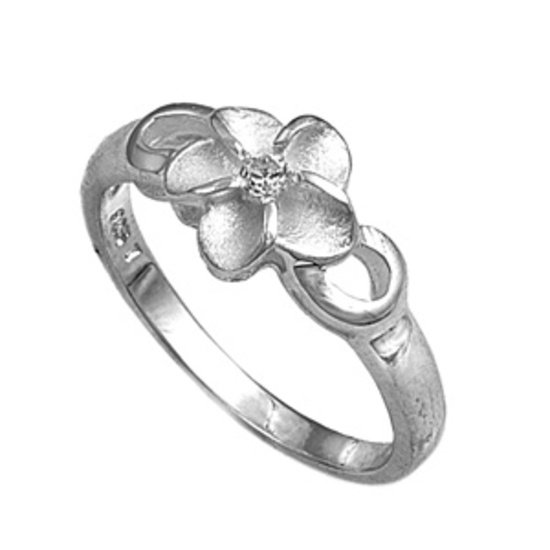 Silver Flower Design Cubic Zirconia Fashion Ring Solid Sterling CLEAR