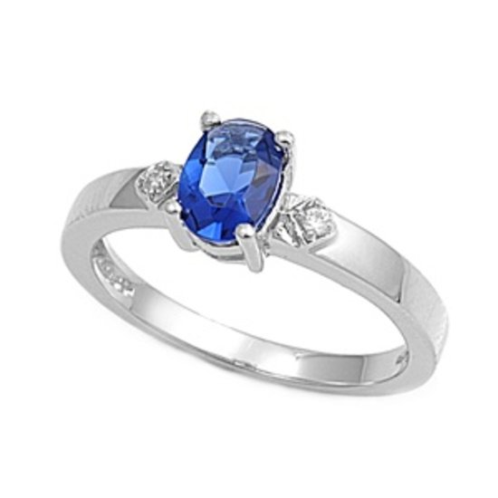 Silver .75CT Oval Cut Blue Sapphire Cubic Zirconia Solitaire Ring Solid Sterling