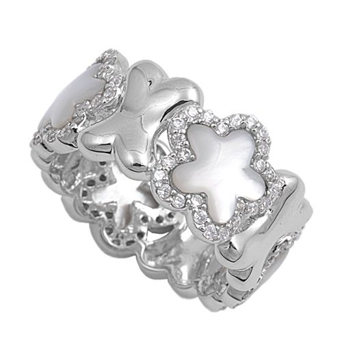 Silver Star Shape Mother of Pearl Cubic Zirconia Fashion Ring Solid Sterling MOT