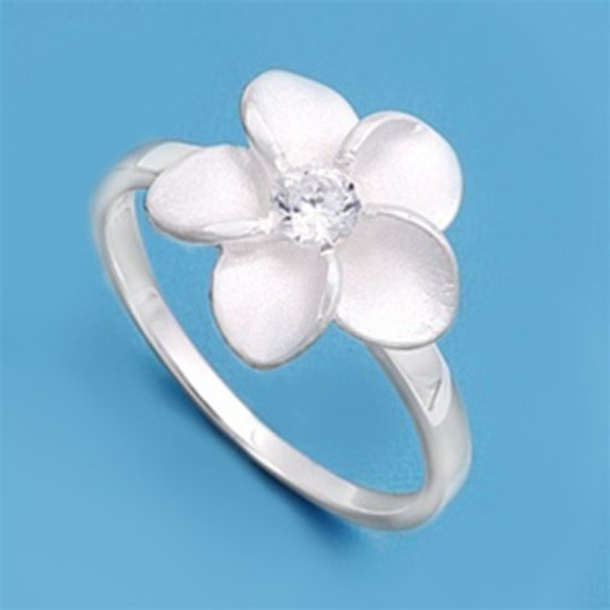 Silver Large Flower Design Cubic Zirconia Fashion Ring Solid Sterling CLEAR