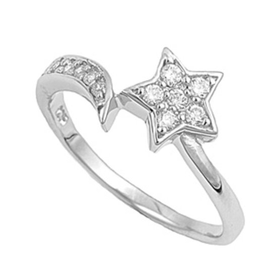 Silver Brilliant Star Shape Cubic Zirconia Fashion Ring Solid Sterling CLEAR