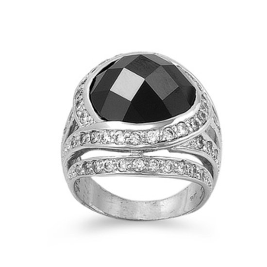 Antique 10CT Black Cubic Zirconia Domed Tapered Band Cocktail Ring Sterling Silv