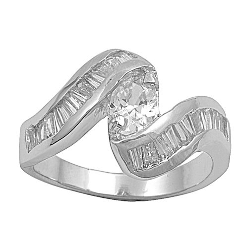Silver Oval Cut Cubic Zirconia Ring with Baguettes Solid Sterling CLEAR
