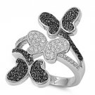 Silver Three Butterflies Pave Black Cubic Zirconia Fashion Ring Solid Sterling C