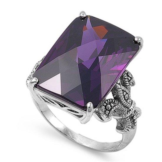 Antique Fleur De Lis Shank Emerald Cut Amethyst CZ Marcasite Ring Sterling Silve