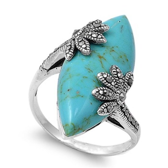 Antique Plus Size Marquise Cut Turquoise CZ with Flowers Marcasite Ring Sterling