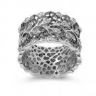 Antique 13mm Silver Vine-like Filigree Band Ring with Cubic Zirconia Stones Ster