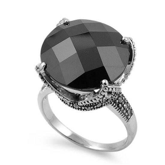 Antique Plus Size Solitaire Brilliant Cut Black CZ Marcasite Ring Sterling Silve