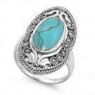 Antique Vintage Bezel Set Brilliant Cut Turquoise CZ Marcasite Ring Sterling Sil