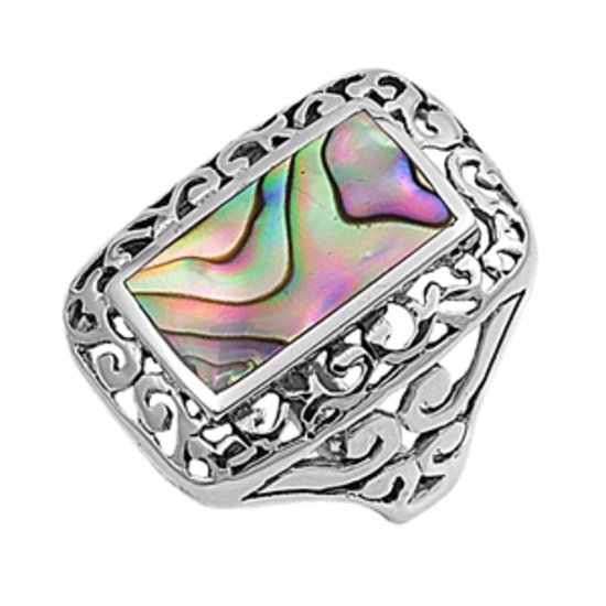 Silver Ring W/Stone Natural Abalone Shell .925 Solid Sterling Silver Ring