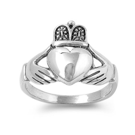 925 Solid Sterling Silver Ring - Claddagh Band 15 mm