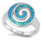 BLUE FIRE OPAL INLAY SWIRL RING Solid 925 Sterling Silver Band Size 5-10
