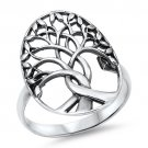 7MM SILVER TREE OF LIFE RING Plain Solid Sterling Silver Band Size 5-10 925 Soli