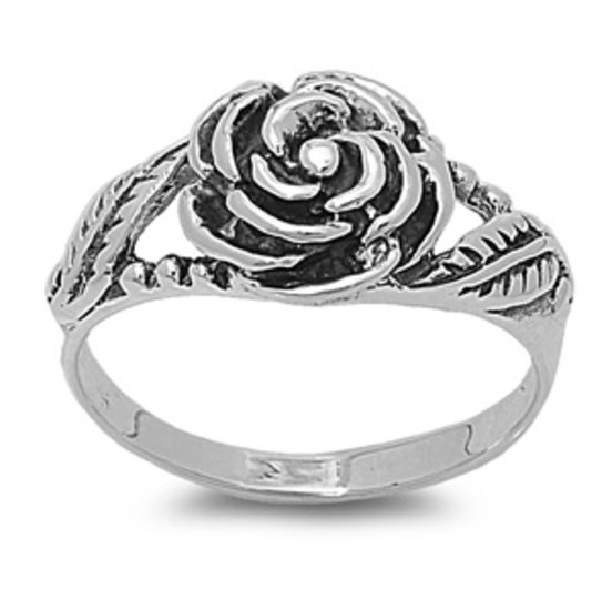 925 Solid Sterling Silver Ring - Rose Band 11 mm