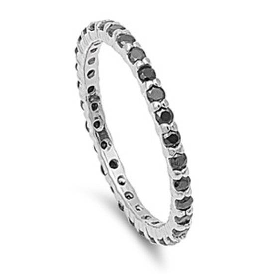 STACKABLE BLACK CZ ETERNITY BAND .925 Sterling Silver Ring 2MM Sterling Silver B
