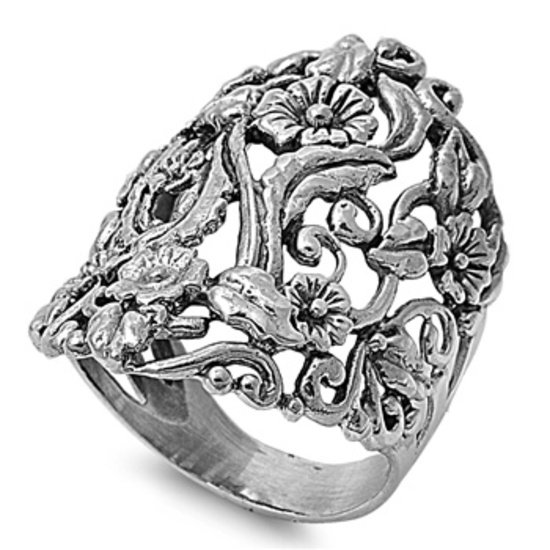 925 Solid Sterling Silver Ring - Plumeria Band 31 mm (1.24 inch)