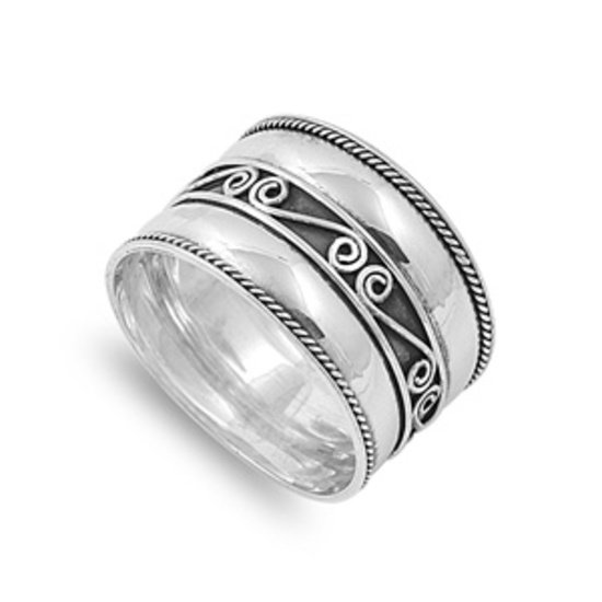 925 Solid Sterling Silver Ring - Bali Design Band 15 mm