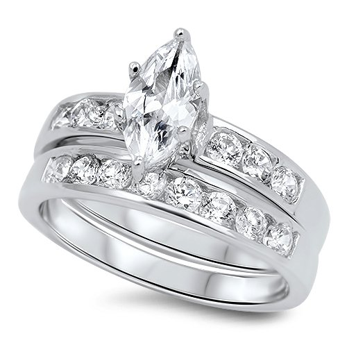 Sterling Silver 1.25CT Marquise Cut Channel Set CZ Wedding Ring Set Bridal