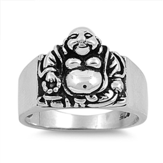 Silver Ring - Buddha 925 Solid Sterling Silver Band  15 mm