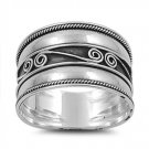 Silver Ring - Bali Design 925 Solid Sterling Silver Band  12 mm
