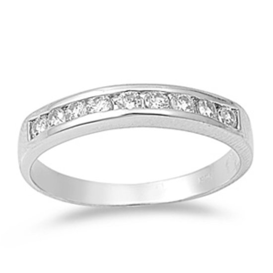 CZ Channel Set Anniversary Wedding Band Rhodium .925 Sterling Silver Ring 4mm St
