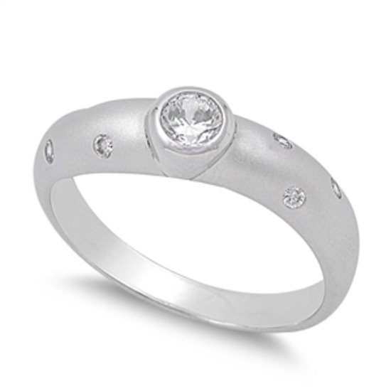 ETOILE SATIN FINISH CZ ENGAGEMENT RING Solid Sterling Silver Band Sterling Silve